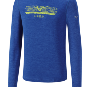 IMPULSE CORE GRAPHIC LS TEE BLUE MELANGE MIZUNO