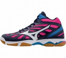 WAVE HURRICANE MID WOS 3 PEACOAT WHITE BLUE MIZUNO