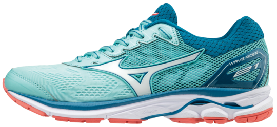 SHOE WAVE RIDER WOS AQUA WHITE BLUE MIZUNO