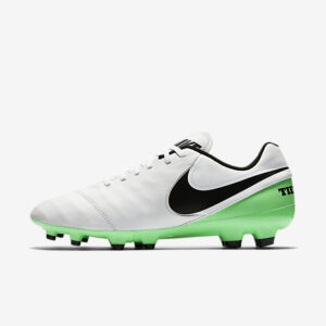 NIKE TIEMPO GENIO II LEATHER FG WHITE BLACK GREEN NIKE