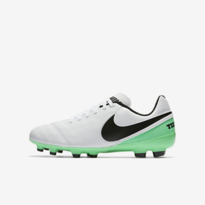 KID'S NIKE TIEMPO LEGEND VI FG WHITE BLACK GREEN NIKE