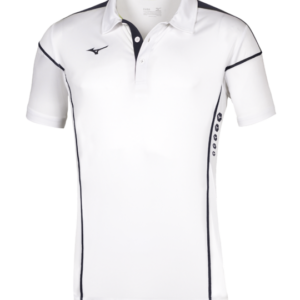 TEAM HEX RECT POLO WHITE NAVY MIZUNO