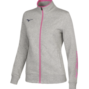 TEAM SWEAT FZ JACKET WOS HEATHER GREY NAVY MIZUNO