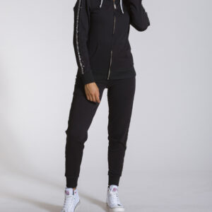 WOMAN HOODY FULL ZIP SPARCKLE LINE BLACK LEONE