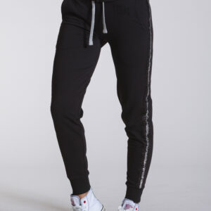 WOMAN SWEATPANTS SPARKLE LINE BLACK LEONE