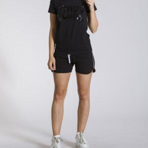 WOMAN T-SHIRT SPARCKLE LINE BLACK LEONE