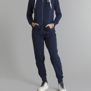 WOMAN HOODY ZIPPED NAVY LEONE