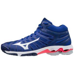 SHOE WAVE VOLTAGE MID REFLEXBLUEC/WHITE/DIVAPINK MIZUNO scarpe da pallavolo